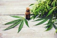 Cannabiskruid en bladeren voor behandeling royalty-vrije stock fotografie
