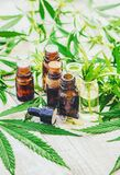 Cannabiskruid en bladeren voor behandelingsbouillon, tint, uittreksel, olie stock foto's
