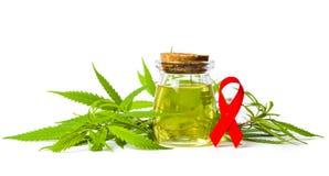 Cannabisolie en geïsoleerde het lint van de Kankervoorlichting Royalty-vrije Stock Foto's