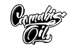 Cannabisolja Modern kalligrafihandbokstäver för serigrafitryck Arkivfoton