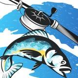 Canne à pêche et poissons sur les vagues illustration stock