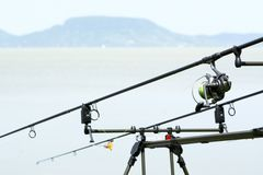 Canne da pesca al Balaton Immagini Stock Libere da Diritti