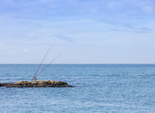 Canne da pesca del mare Fotografia Stock Libera da Diritti