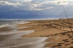 Canne da pesca di Sygna dell'oceano Fotografia Stock Libera da Diritti