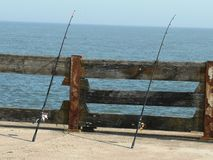 Canne da pesca in mare Norfolk fotografia stock