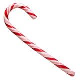 Canne de bonbon dur en bon état barrée dans des couleurs de Noël d'isolement sur un fond blanc closeup Photo stock