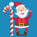 Canne de Santa Claus et de sucrerie Photos stock