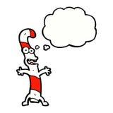 canne de sucrerie de bande dessinée avec la bulle de pensée Images stock