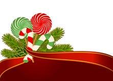 Canne de sucrerie de Noël décorée. Photographie stock