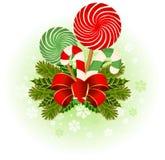 Canne de sucrerie de Noël décorée. Image libre de droits