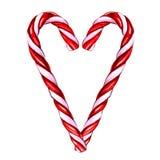 Canne de sucrerie de Noël d'isolement sur le fond blanc Image libre de droits