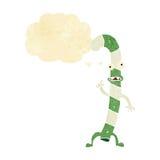 canne de sucrerie de Noël de danse de bande dessinée avec la bulle de pensée Images stock