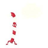 canne de sucrerie de Noël de danse de bande dessinée avec la bulle de pensée Image stock