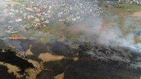 Canne del fuoco sul fiume Rilevamento aereo archivi video