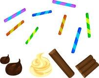 Canne di caramella e del cioccolato Immagini Stock