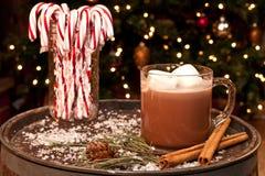 Canne di caramella e della cioccolata calda Fotografie Stock