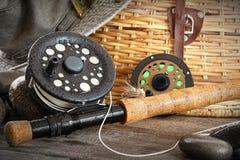 Canne à pêche de mouche de plan rapproché Images stock