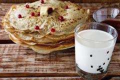 Canneberges de fromage de crêpes Photographie stock libre de droits
