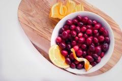 Canneberges et tranches oranges juteuses photographie stock libre de droits