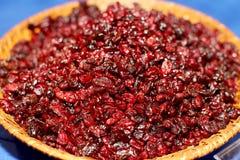 Canneberges rouges sèches dans une cuvette rustique sur la table bleue Foyer sélectif Photo stock