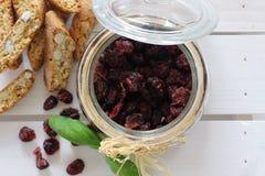 Canneberges sèches, biscuits, nourriture italienne, casse-croûte italiens, biscuits italiens Photographie stock libre de droits