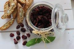 Canneberges sèches, biscuits, nourriture italienne, casse-croûte italiens, biscuits italiens Image libre de droits