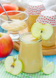 Canned apple puree, baby food Stock Photos