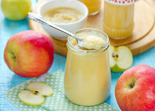 Canned applesauce Stock Image