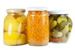 Canned Apricots, cucumbers and carrots Royalty Free Stock Photography