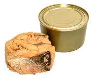 Canned Atlantic Salmon Meat Stock Photo