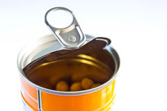 The canned baked beans. Containers, aluminum cans baked beans Stock Photography
