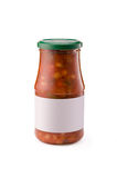 Canned beans. In a glass jar with white blank label on a white background Stock Photo