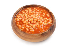 Canned beans in tomato sauce. Isolated on white Stock Photo