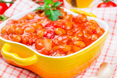 Canned beans with vegetables. In tomato sauce Royalty Free Stock Photos