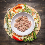 Canned beef  white plate around lie ingredients vegetables and herbs on wooden rustic background top view Royalty Free Stock Photography