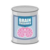 Canned brains. Tin with brain. Vector illustration food for mind Stock Images