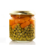Canned carrots and peas Stock Photos