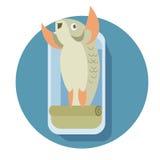 Canned cartoon fish Stock Photos