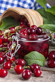 Canned cherries Stock Images