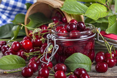 Canned cherries Royalty Free Stock Photography