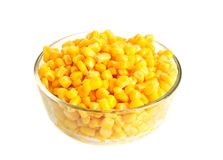 Canned corn. In bowl isolated on white Royalty Free Stock Image