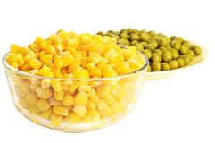 Canned corn and pea Stock Photo