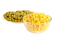 Canned corn and pea Royalty Free Stock Photo