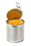 Canned corn in a tin Royalty Free Stock Photography