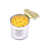 Canned corn in a tincan isolated Royalty Free Stock Images