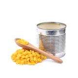 Canned corn in a tincan isolated Stock Photos