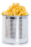 Canned Corn on white Royalty Free Stock Photo