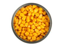 Canned corn on white Royalty Free Stock Photography