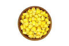 Canned corn in a wooden bowl Royalty Free Stock Photos