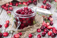 Canned Cranberries. (with some fresh fruits Royalty Free Stock Photos